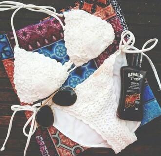 swimwear blanc crochet