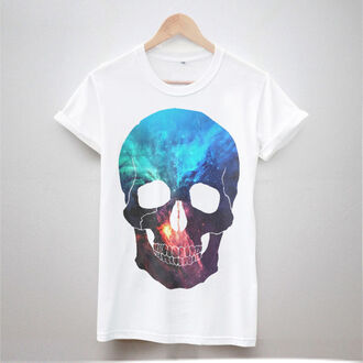 t-shirt galaxy skull galaxy white shirt skull