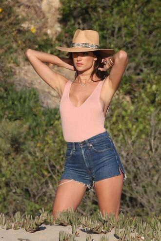 top bodysuit blush pink alessandra ambrosio model summer outfits shorts denim shorts