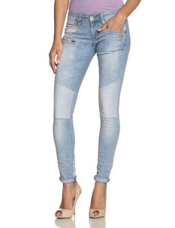 gang damen skinny jeans nena biker stretch denim light patchwork bekleidung. Black Bedroom Furniture Sets. Home Design Ideas