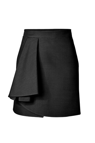 skirt draped silk wool black
