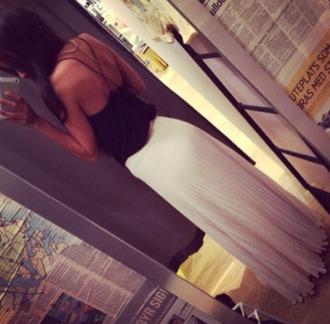 tank top skirt white skirt maxi skirt blouse black top cream straps floor length fancey maxi