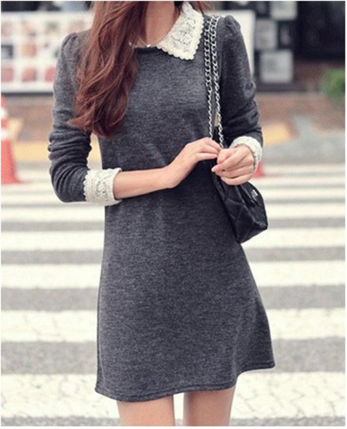 dress vintage peter pan collar peter pan collar dress grey dress lace collar lace