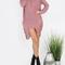 Pink ripped long sleeve high low sweater -shein(sheinside)