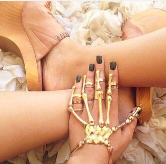 jewels gold bracelets ring skeleton bone hand skeleton halloween skull bracelet crystal westbrooks hand jewelry