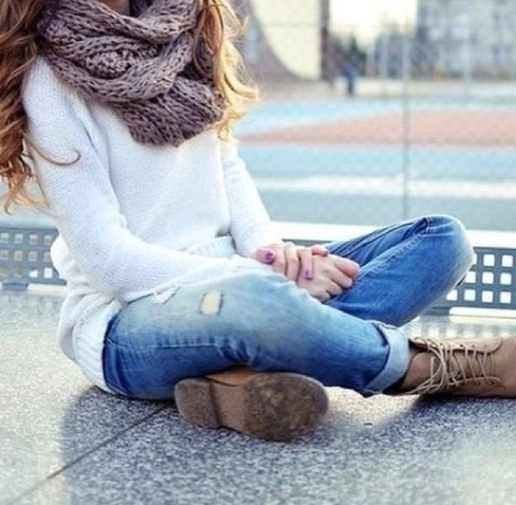 boots brown brown shoes brown boots scarf white white sweater grey