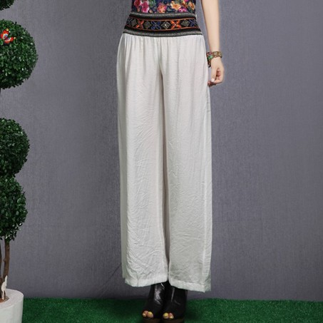 2014  Fashion national trend loose wide leg pants summer women's chinese style unique embroidered elastic waist  bloomers-inPants & Capris from Apparel & Accessories on Aliexpress.com