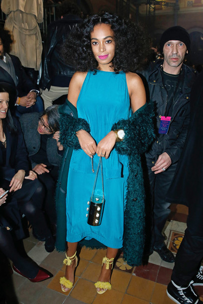 shoes sandals fashion week 2015 solange knowles dress cardigan