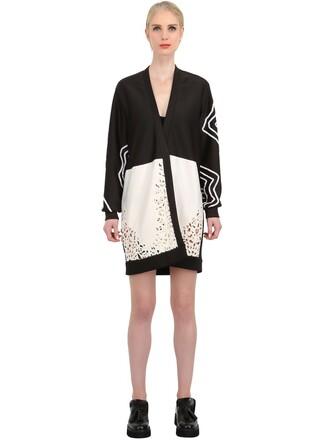 jacket laser cut lace silk neoprene white black