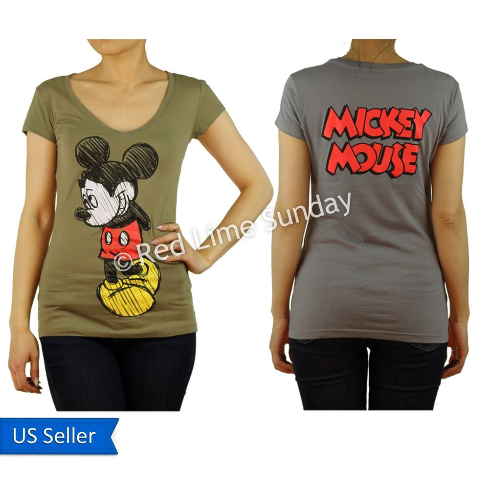 Disney Gray Khaki Mickey Mouse Logo Print Color Cotton T Shirt Top Junior New
