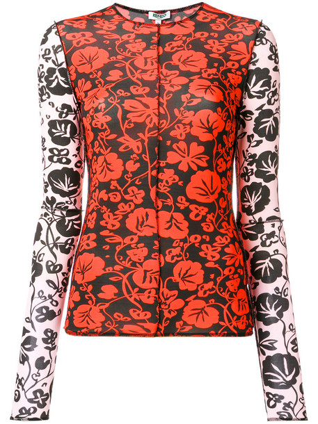 Kenzo top women spandex floral red