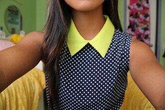 dress neon collar top polka dots blouse girly tumblr girl yellow poka dots flowy black blouse tumblr shirt neon yellow neon