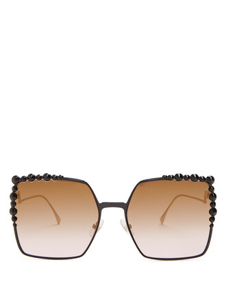 oversized embellished sunglasses black