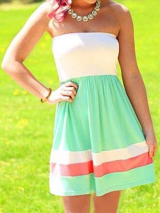 dress white aqua pink girly pretty summer