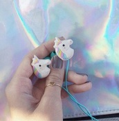 earphones,unicorn,kawaii,cute,rainbow,tumblr,weheartit,phone cover,earbuds,soft grunge,pastel,pastel goth,music,pink,blue,instagram,kawaii grunge,kawaii accessory,unicorn cover,grunge,unicorn earphones