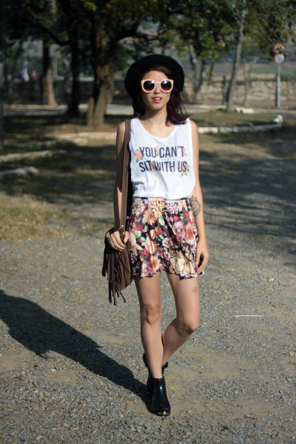 my name is glenn top skirt bag shoes sunglasses fringed bag
