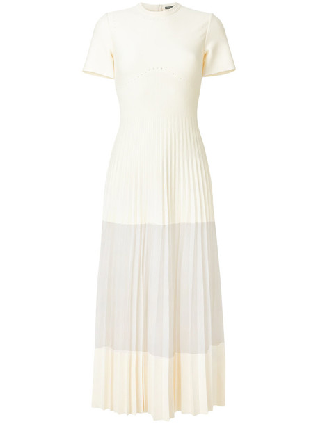 Alexander Mcqueen dress pleated long women white silk wool