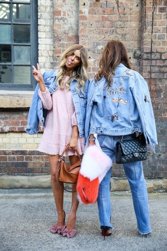 jacket denim jacket denim pink dress embroidered embellished denim embellished