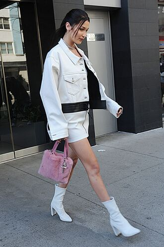 skirt jacket boots bella hadid top ankle boots model off-duty streetstyle spring outfits shoes