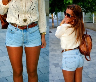 shorts fashforfashion white sweater brown belt pinterest jeans high waisted shorts acid wash tight shorts sweater bag