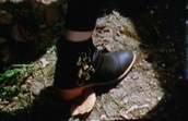 shoes,american horror story,boots,gold,black,grunge,soft grunge,ankle boots