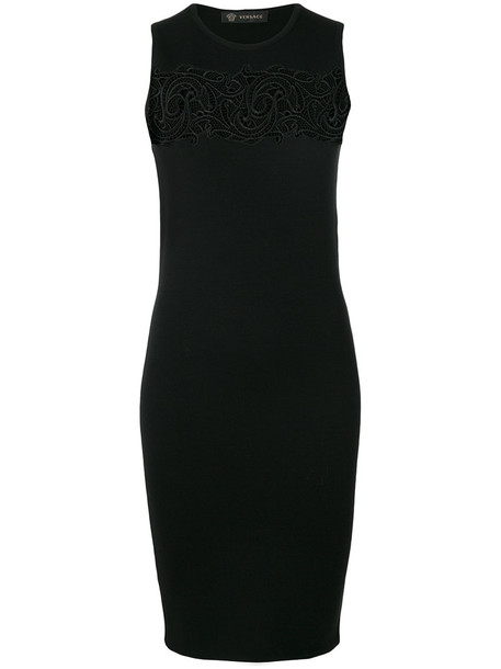 VERSACE dress bodycon bodycon dress women lace black wool