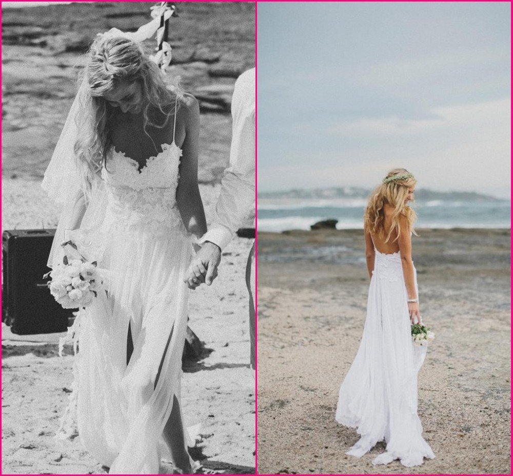 Beach Wedding Dresses Spaghetti Straps Appliques Low Back Lace Wedding Dress Summer Bohemian Wedding Gowns Front Short Back Long-in Wedding Dresses from Apparel & Accessories on Aliexpress.com