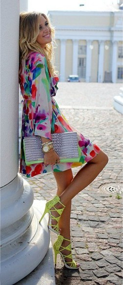 floral dress summer dress bright colored style dress shorts bag shoes