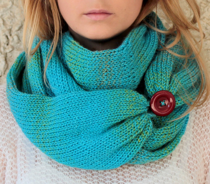 Knit Scarf with button, infinity scarf, circle scarf, loop scarf , knit infin...