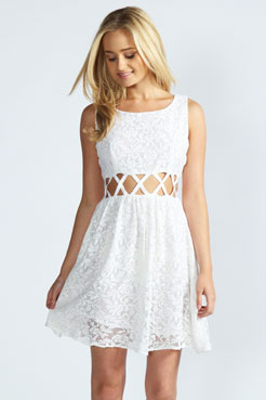 Alana Cross Waist Lace Skater Dress at boohoo.com