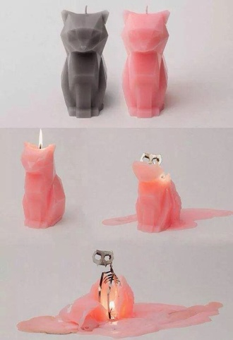 candle cats skeleton candle decor pink black scull smell cute decoration home decor pussy pussycat halloween grunge wishlist dolphin candle halloween decor home accessory cool hipster grunge pastel goth kawaii creepy jumpsuit melting skull burning catskull grey cat candle pink cat grey cat wax
