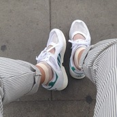 shoes,transparent shoes,white,white shoes,sneakers,adidas,trainers,sportswear,old school,fashion,green,style is a playground,allwhite party,allwhite style,style,mesh,cut-out,sports shoes,tights,pants,striped pants