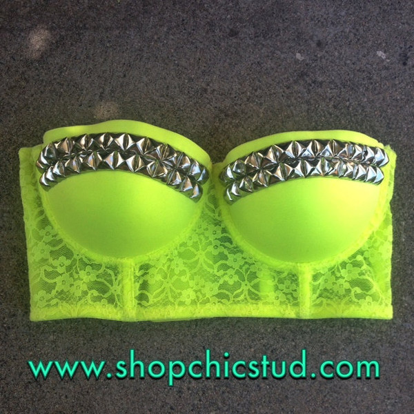 08fa05b3289c2 Studded Bustier Longline Bra Crop Top - Neon Yellow Lace - S ...