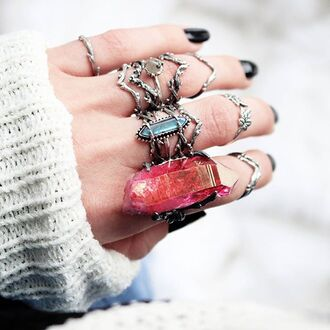 jewels shop dixi crystal thorn ring quartz aura quartz sterling silver boho bohemian grunge goth alternative jewelry