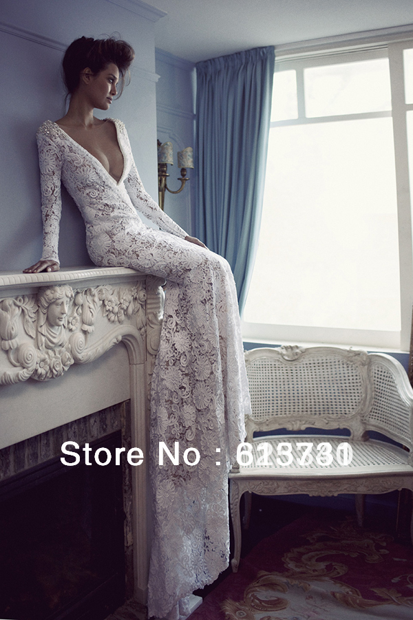 2013 New Design Sexy Long Sleeves Deep V Neck Court Train Open Back Beaded Lace Mermaid Wedding Dresses-in Wedding Dresses from Apparel & Accessories on Aliexpress.com