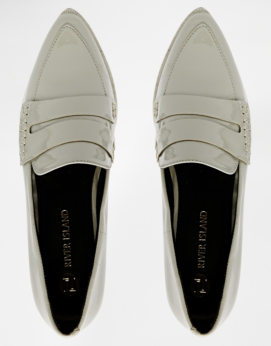 River Island Grey Pointed Toe Patent Loafer Shoes at asos.com