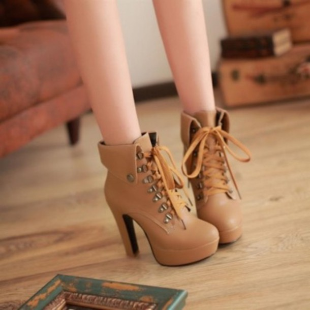 shoes shoes ankle boots heels lace brown platform lace up boots