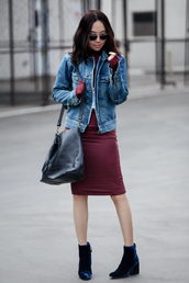fit fab fun mom,blogger,dress,jacket,shoes,bag,sunglasses,jewels,denim jacket,burgundy,burgundy dress,black bag,shoulder bag,aviator sunglasses,velvet,blue shoes,ankle boots,long sleeves,velvet boots