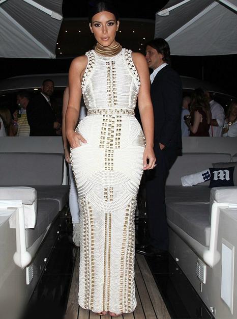 Metallic Applique Bandage Evening Dress White