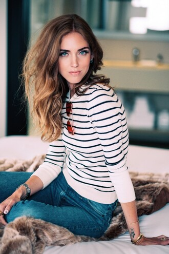 top tumblr chiara chiara ferragni the blonde salad top blogger lifestyle stripes striped sweater sweater jeans denim blue jeans sunglasses aviator sunglasses make-up