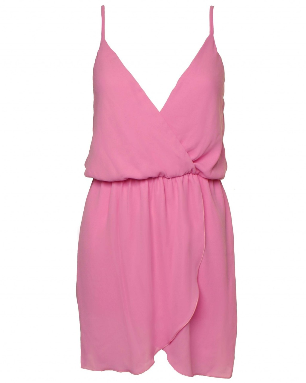 LOVE Pink Spaghetti Strap Wrap Dress