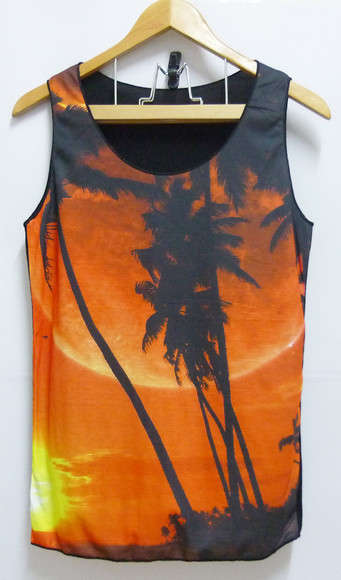 one tree hill tank top sky colorful sun orange tree shadow sleeveless summer slanelle shorts shirt sunset colorful shirt colorful tank top cute shirt women shirt women tee women tshirts