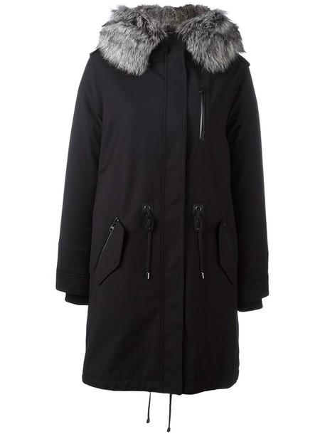 mackage coat fur fox women black