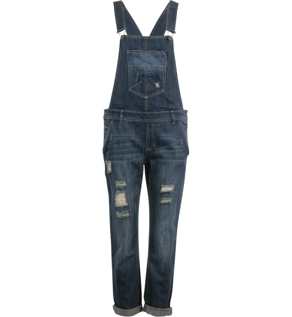 salopette en jean destroy dark blue - jeans Jennyfer