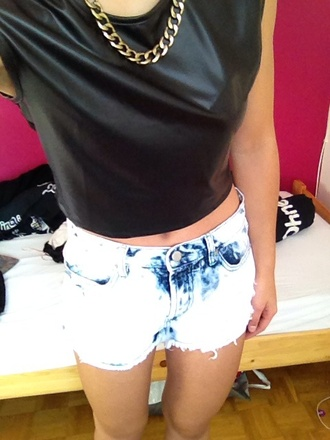 tank top leather blouse chain ripped shorts zara forever 21