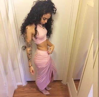shirt baby pink skirt set pretty gypsy cute princess