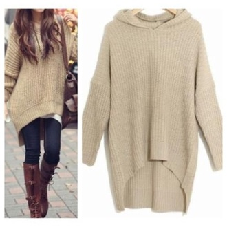 sweater clothes fashion winter sweater hoodie khaki fall outfits kawaii girly top t-shirt