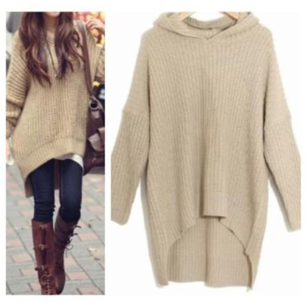 Sweater: khaki, hoodie, top, fall outfits, winter sweater, t-shirt ...