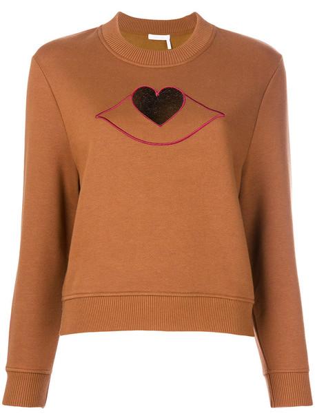 See by Chloe sweatshirt heart cut-out women cotton brown sweater