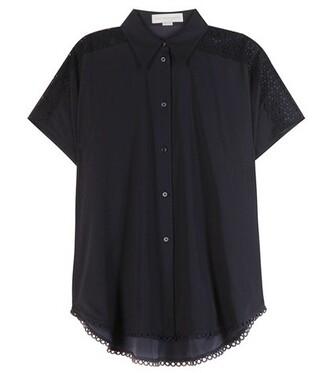 blouse cotton blue top